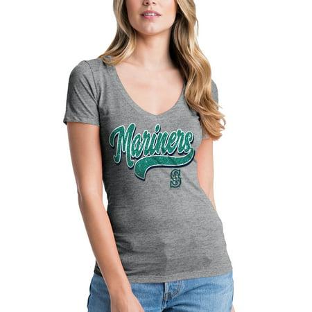 Women's New Era Heathered Gray Seattle Mariners Glitter Logo V-Neck T-Shirt
