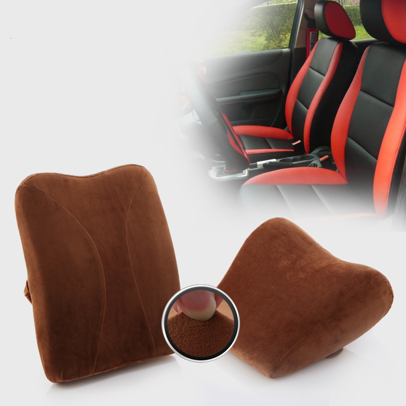 Memory Foam car lumbar pillow & Support Headrest - Lumbar seat cushion & Head Neck Rest Cushion Pillow Support Car Home Office Chair Cushion, Brown