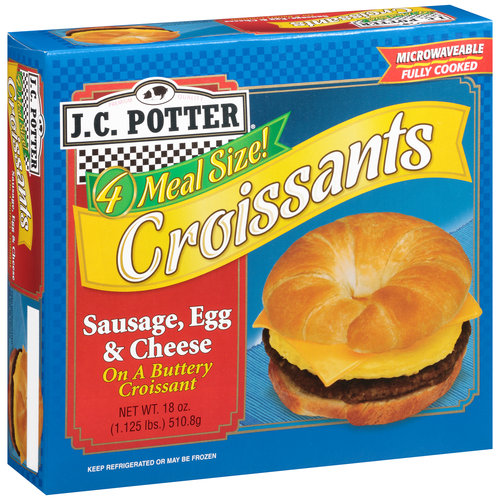 J.C. Potter Sausage, Egg & Cheese Croissants, 18 Oz., 4 Count