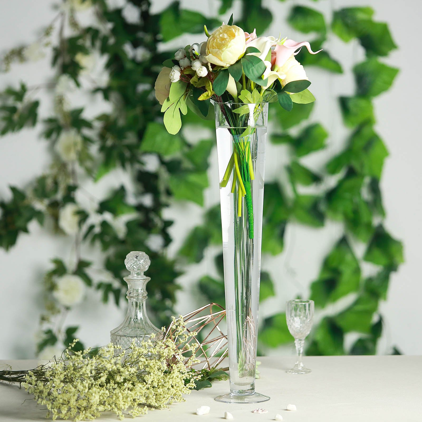 Efavormart Trumpet Glass Centerpiece Flower Vase for Wedding Party Banquet Events Centerpiece Decoration 6pcs/set