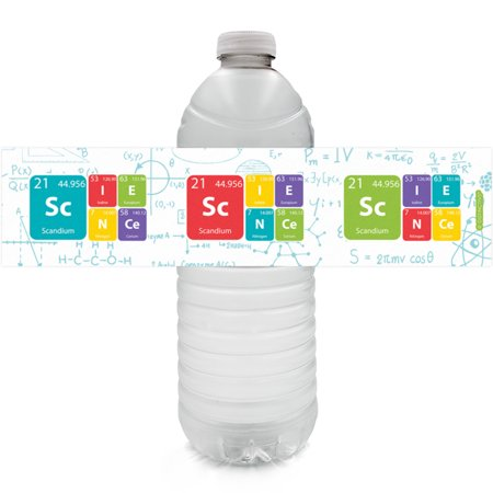 Science Party Water Bottle Labels, 24 ct - Mad Science Birthday Party Supplies - 24 Count Stickers