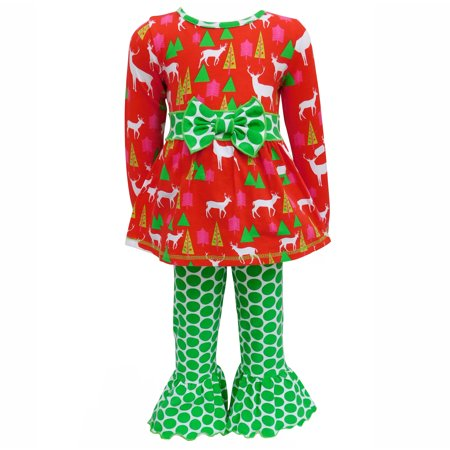 Red Deer and Green Polka Dot Two-Piece Outfit Set - Dark Angel Outfits