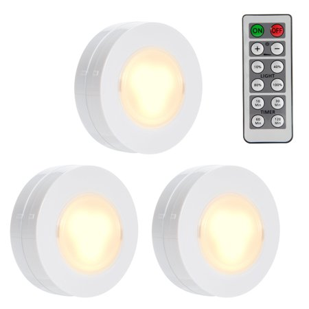 Wireless LED Puck Lights, Closet Lights Battery Operated with Remote Controll, Kitchen Under Cabinet LED Lighting - 3 Pack](Light Battery Operated)