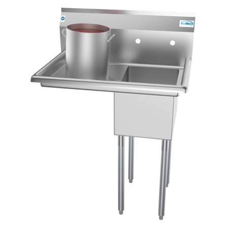 "1 Compartment 31"" Stainless Steel Commercial Kitchen Prep & Utility Sink with Drainboard - Bowl Size 12"" x 16"" x 10"""