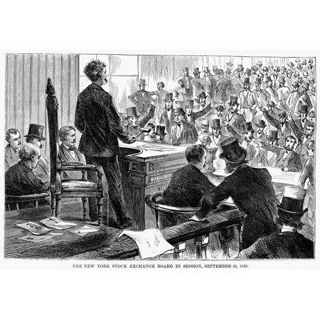 Black Friday 1869 NThe New York Stock Exchange Board In Session 25 September 1869 - The Day After The Original Black Friday Gold Panic On Wall Street Wood Engraving From ANcontemporary American Newspa