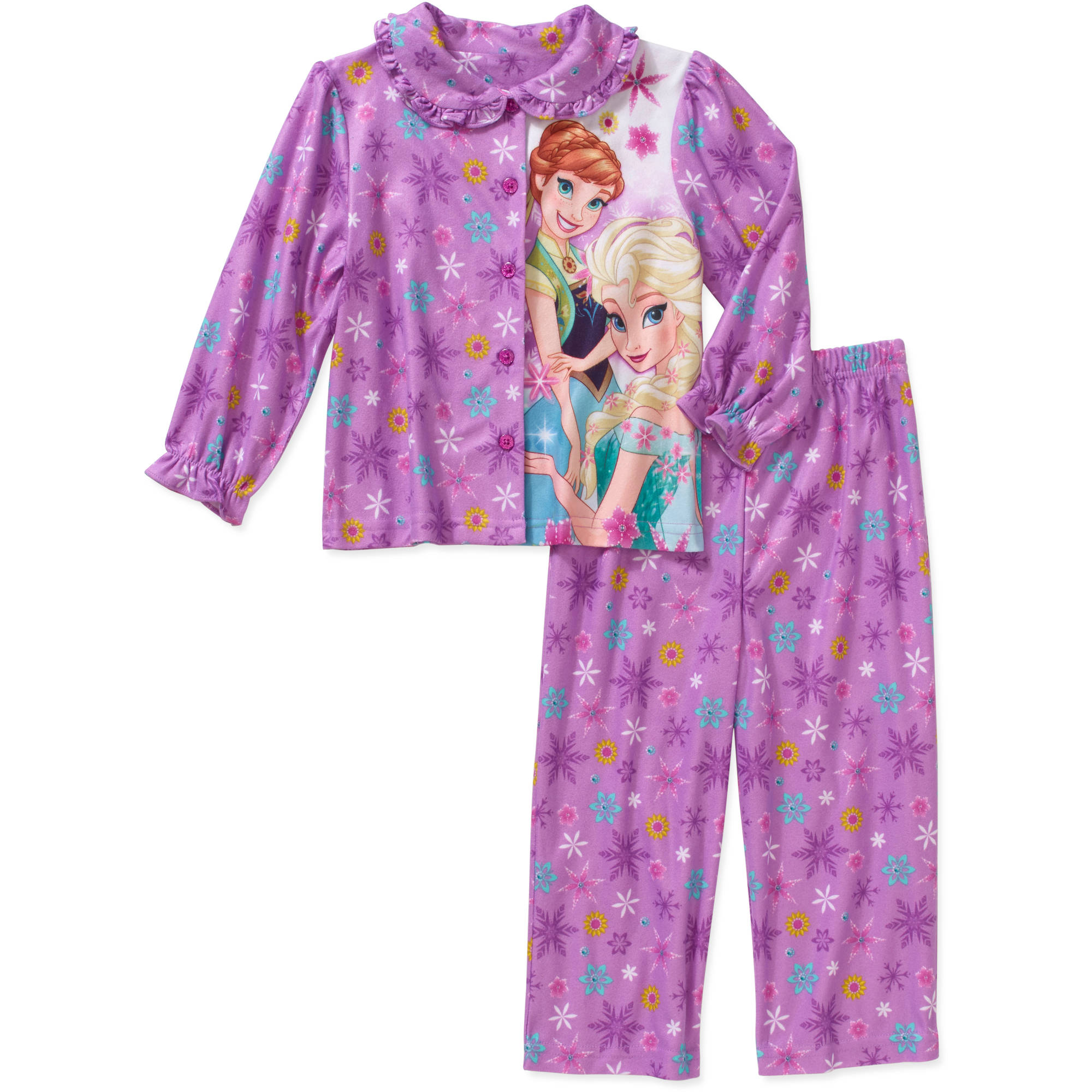 Disney Frozen Toddler Girl Button Down Pajama Set - Walmart.com