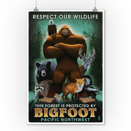 The Pacific Northwest - Respect Our Wildlife - Bigfoot - Lantern Press Artwork (9x12 Art Print, Wall Decor Travel Poster)