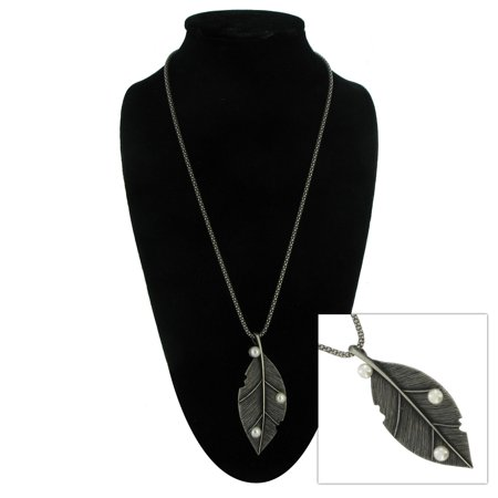 Leaf Pendant Antiqued Silver Tone Studded with Faux Pearl Long Necklace 24