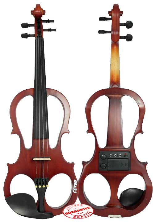 Fever Solid Wood Brown Electric Violin with Ebony Fittings by Fever
