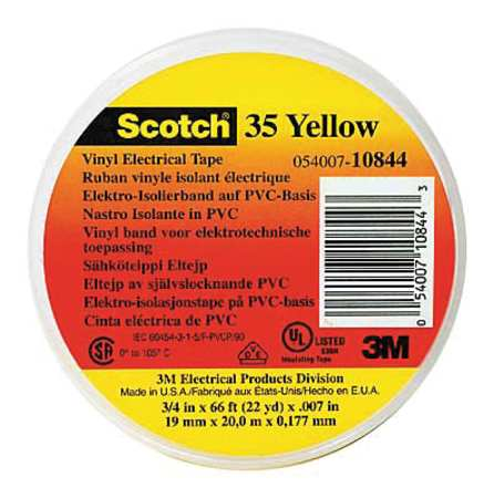 "Electrical Tape, 7 mil, 1/2""x20 ft, Yellow, PK100"