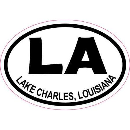 3x2 Oval LA Lake Charles Louisiana Sticker Travel Luggage Decal Stickers