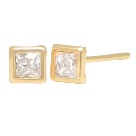 - Pori Jewelers 14K Solid Gold Square CZ Bezel Stud Earrings BOXED