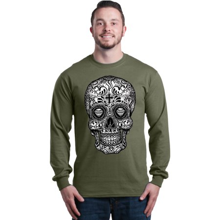 Shop4Ever Men's Black and White Skull Day of the Dead Long Sleeve
