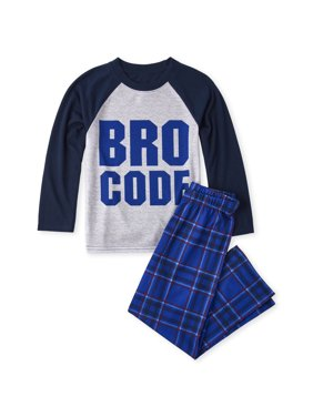 Long Sleeve Raglan 'Bro Code' Plaid 2 Piece Pajama Set (Little Boy & Big Boy)