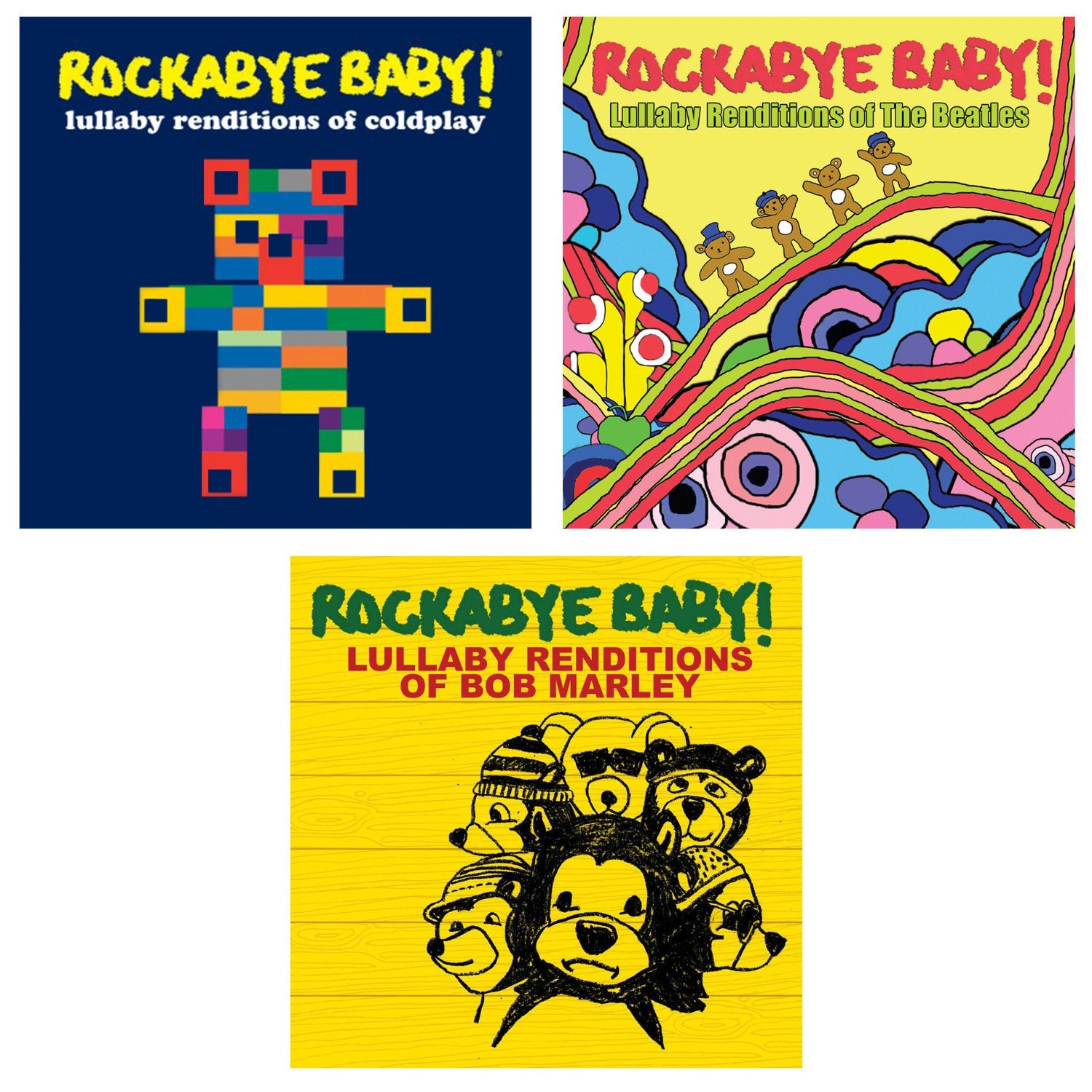 Rockabye Baby Lullaby Renditions 3 CD Set, Coldplay/Beatles/Bob Marley