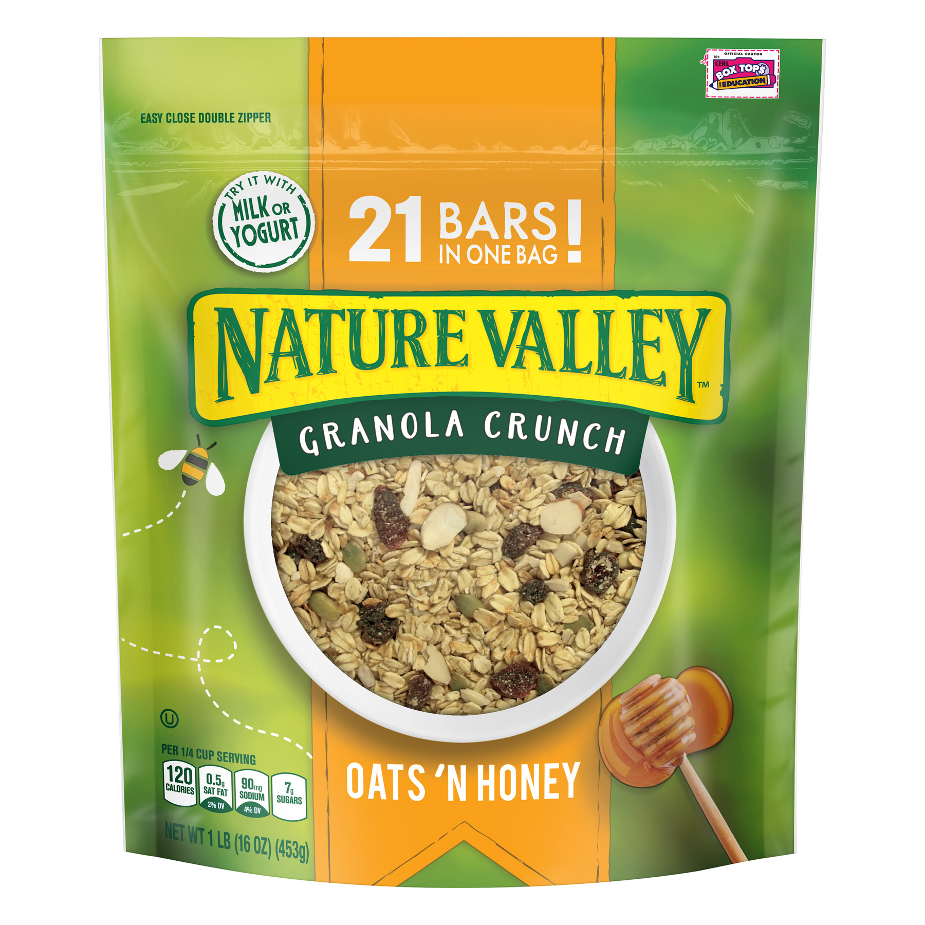 (2 Pack) Nature Valley Granola Crunch, Clusters, Oats 'n Honey, 16 oz