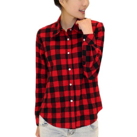 OUMY Women Button Up Long Sleeve Plaid (Tavern Plaid)