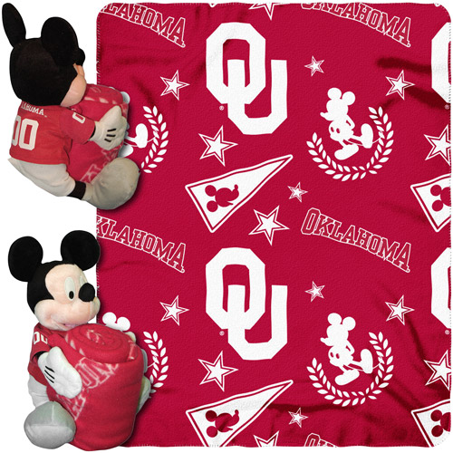 "Disney NCAA Hugger Pillow and 40"" x 50"" Throw Set, Oklahoma Sooners"