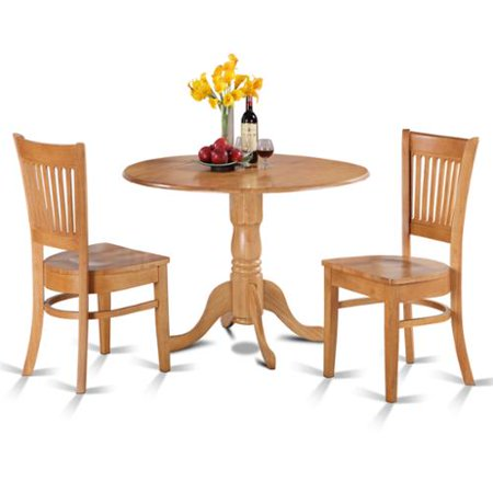 table and 2 slat back chairs 3 piece dining set wood seat walmart