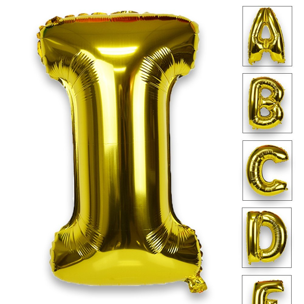 Just Artifacts Glossy Gold (30-inch) Decorative Floating Foil Mylar Balloons - Letter: I - Letter and Number Balloons for any Name or Number Combination!