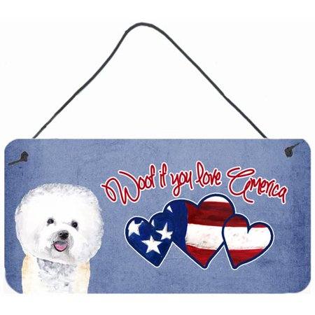 Caroline's Treasures Woof if you love America Bichon Frise by Sylvia Corban Painting Print Plaque