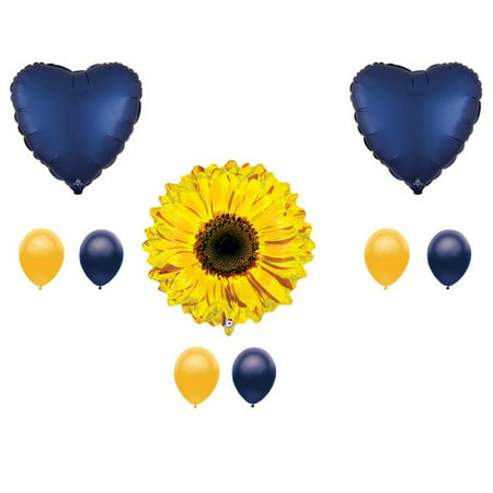 Navy Blue Sunflower Balloon  Happy Birthday Decoration Supplies Summer - Sunflower Balloon
