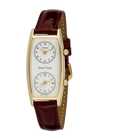 Women's Gold-Tone Dual Time Zone Leather Strap Quartz Watch
