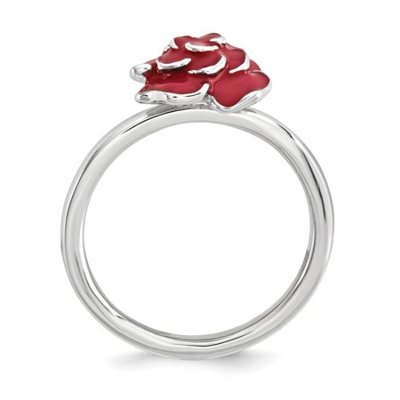 925 Sterling Silver Rose Band Ring Size 10.00 Stackable Fine Jewelry Gifts For Women For Her - image 4 of 7
