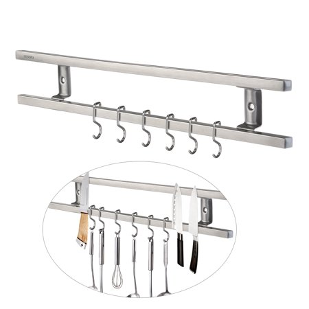 - OUNONA Wall-mounted Magnetic Knife Holder Double Bar Knife Rack for Knives Utensils and Kitchen Sets