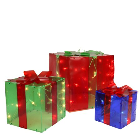 Set of 3 Pre-Lit Red, Green and Yellow Glistening Gift Box Christmas Outdoor Decorations ()