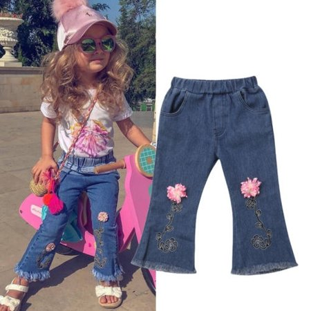 Girls Elastic Waist Pants - New Fashion Toddler Kids Baby Girl 3D Flower Tassel Long Pants Elastic Waist Denim Jeans