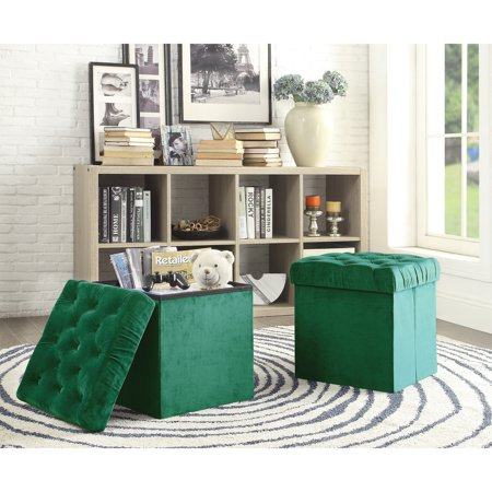 AC Pacific Foldable Storage Cube Ottoman Stool, 2-Piece Set ()