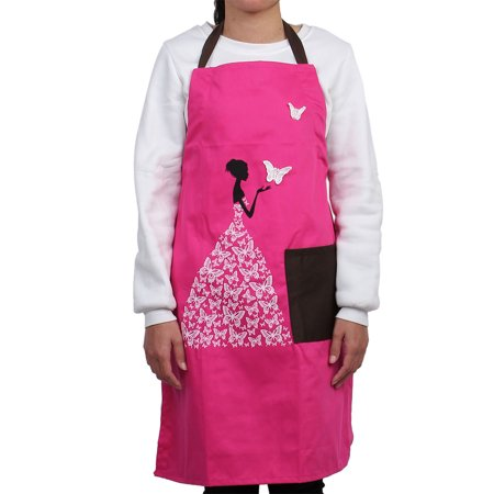 Home Butterfly Pattern Front Patch Pocket Adjustable Cooking Apron Bib Fuchsia - image 3 of 3