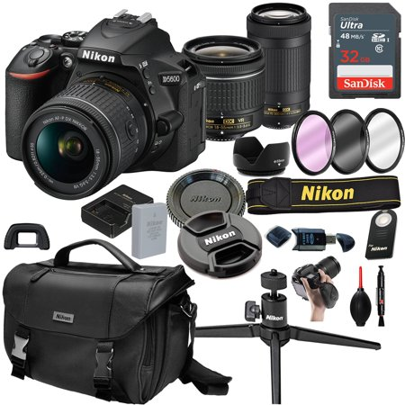 Nikon D5600 DSLR Camera with 18-55mm VR  and 70-300mm Lenses + 32GB Card, Tripod,Case and More (21pc
