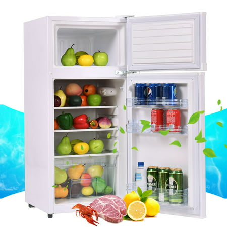 Costway 2 Doors 3.4 cu ft. Unit  Compact Mini Refrigerator Freezer Cooler