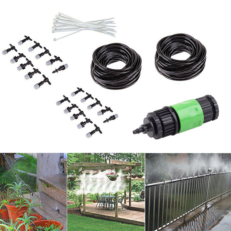 Outdoor 67' Garden Patio Water Misting Cooling System Mist Nozzle Sprinkler Irrigation by