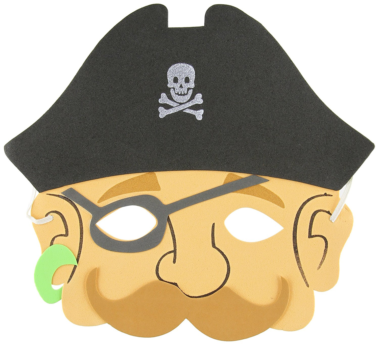 Foam Pirate Masks, 12-Pack, 12 assorted pirate masks By Rhode Island Novelty