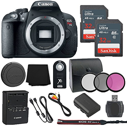 Canon EOS Rebel T5i 18MP Digital SLR Camera Body Only + 2...