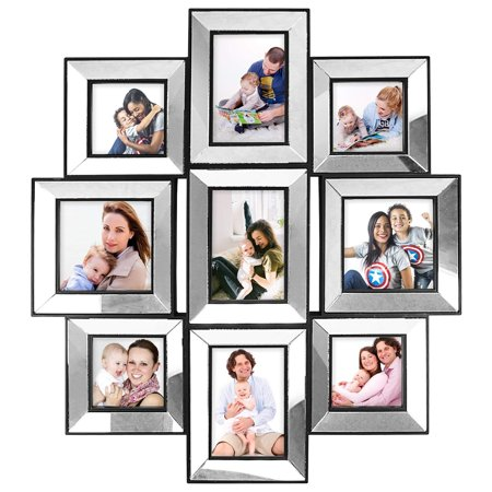 Photo Frame 21x24 MIRROR FRAME Picture Frame Selfie Gallery Injection Collage Wall Hanging - 9 Photo Sockets - Wall Mounting Design ()