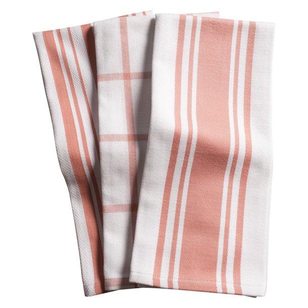 Kaf Home Centerband Basketweave Windowpane Kitchen Towels Set Of 3 Blossom Walmart Com Walmart Com