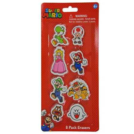 Super Mario 8pk Shaped Erasers on Card- 2 Pack ()