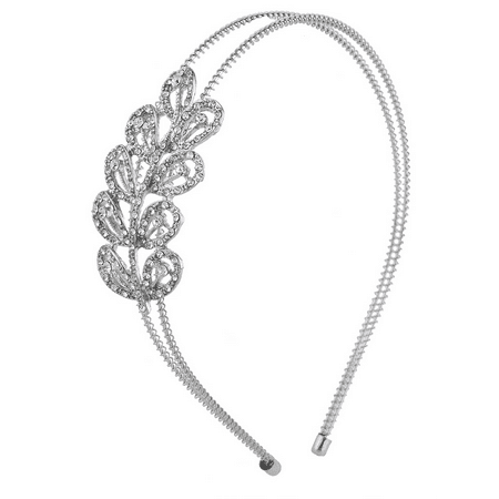 Lux Accessories Silver Tone Crystal Rhinestone Scalloped Two RowCoil Headband