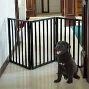 PETMAKER Freestanding Wooden Pet Gate, Dark Brown