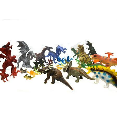 42 Piece Large and Small Dinosaur Versus Dragon Play Set, - Small Dinosaur