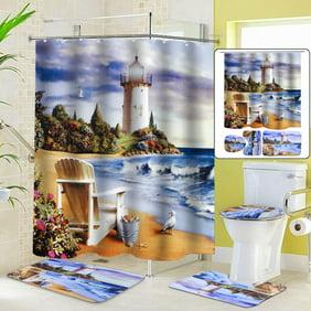 Sea Lighthouse Bathroom Shower Curtain, Lighthouse Bathroom Sets