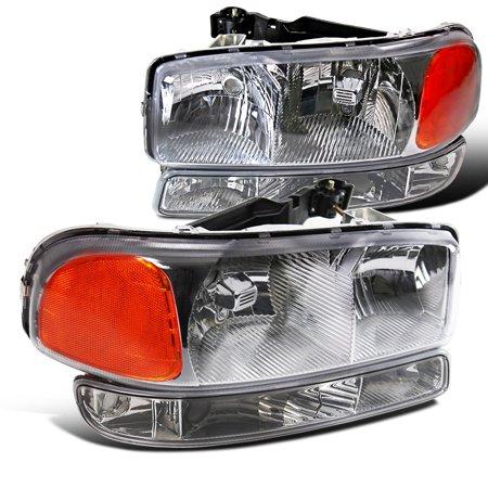Spec-D Tuning New 1999-2006 Gmc Sierra Yukon Xl Chrome Clear Lens Head Lamps + Bumper Lights 1999 2000 2001 2002 2003 2004 2005 2006 (Left + Right)