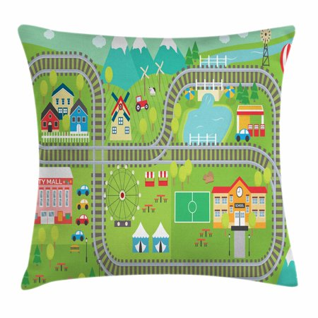 Kid's Activity Throw Pillow Cushion Cover, Train Tracks with Colorful Town School City Mall and Amusement Park Fair, Decorative Square Accent Pillow Case, 18 X 18 Inches, Multicolor, by Ambesonne (Fair Mall)