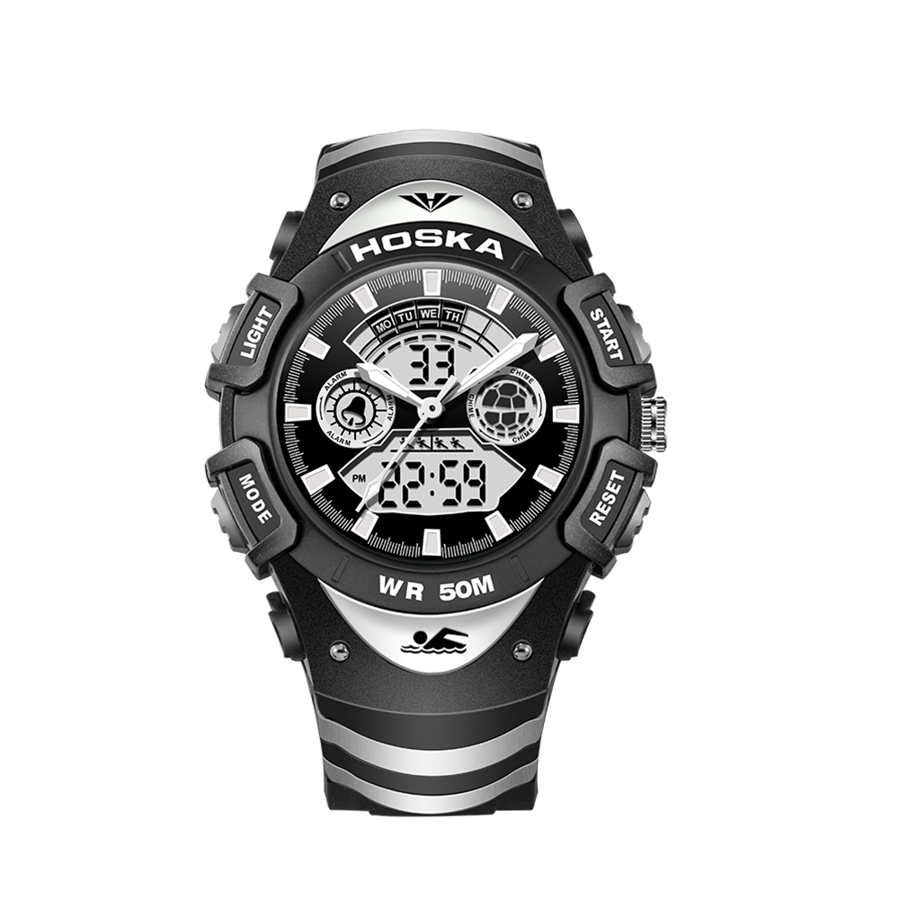 Men Fashion Waterproof Electronic Digital Display Black Plastic Watchband Swimming Sports Watch by