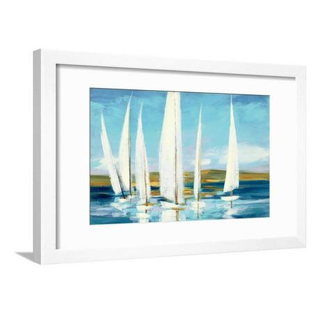 Horizon Coastal Sailboats Ocean Art Framed Print Wall Art By Julia Purinton ()
