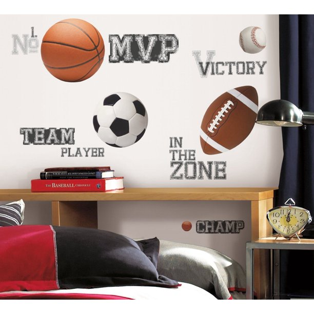 Roommates Decor 24 Boys ALL SPORTS WALL STICKERS Football Basketball Soccer Ball Baseball Decals